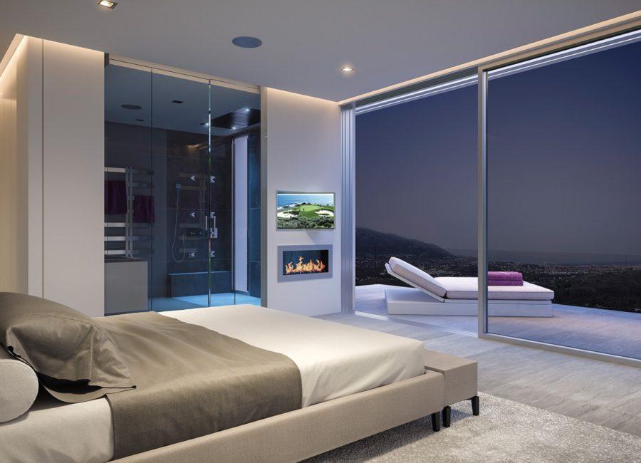 Vista nocturna Interior Dormitorio Phoenix Resort la Cala